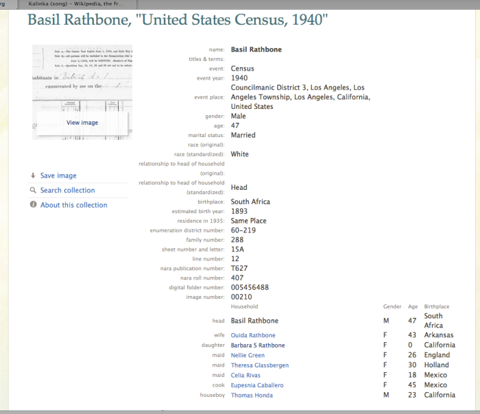 Basil Rathbone in 1940 census