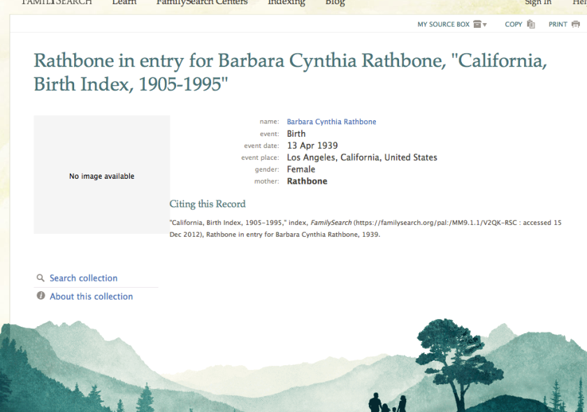 cynthia rathbone birth registration  1939