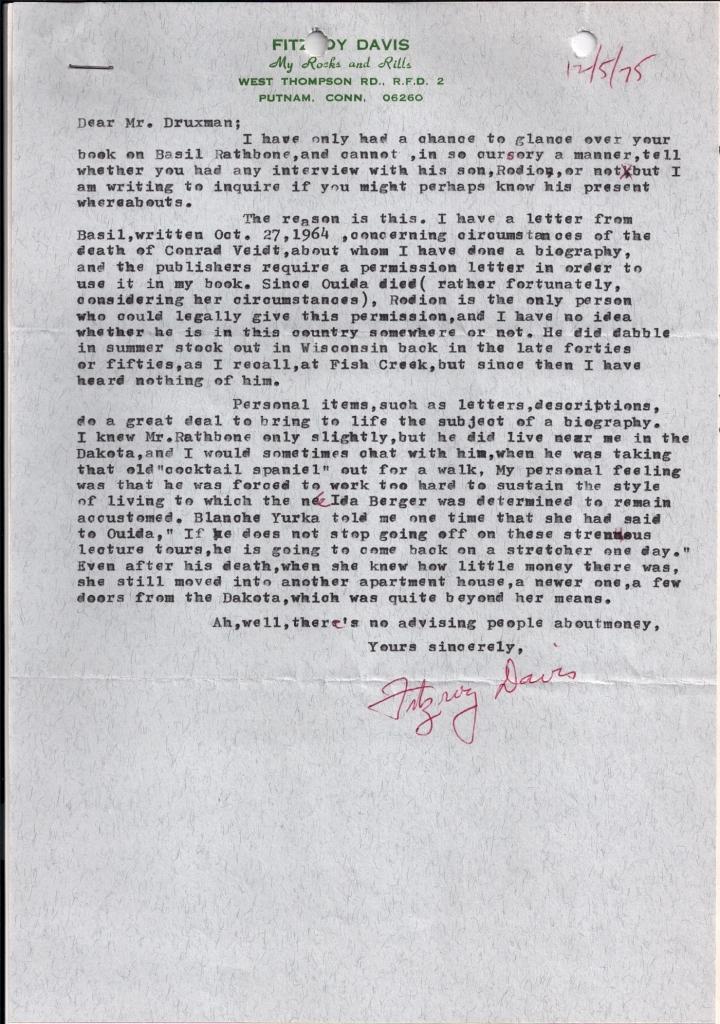 Fitzroy Davis letter