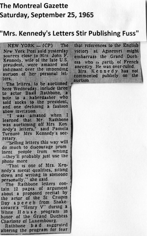 Mrs-1. Kennedy's Letters Stir Publishing Fuss