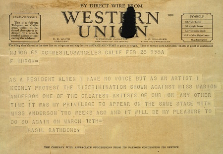 telegram from Basil Rathbone to Sol Hurok